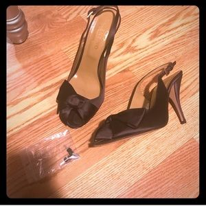 Shoes - Valentino Satin Peep Toe Pumps